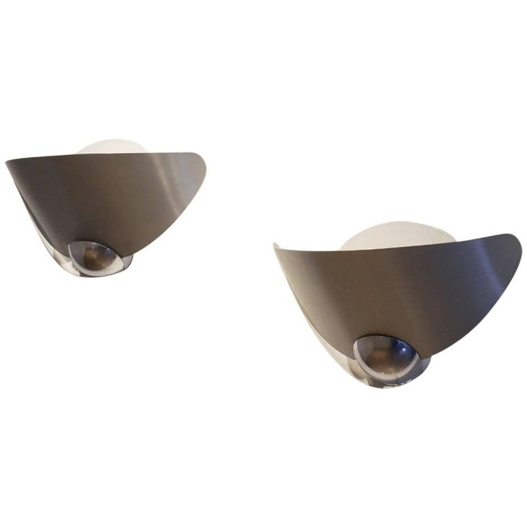 Pair of 1970s Brushed Aluminium and Chromed Metal Leaf Wing Shaped Wall Sconces