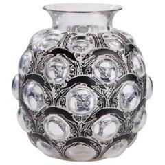 "René Lalique Black Enameled Vase ""Antilopes"""