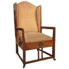 Arts & Crafts Period Oak Winged Armchair by George Montague Ellwood