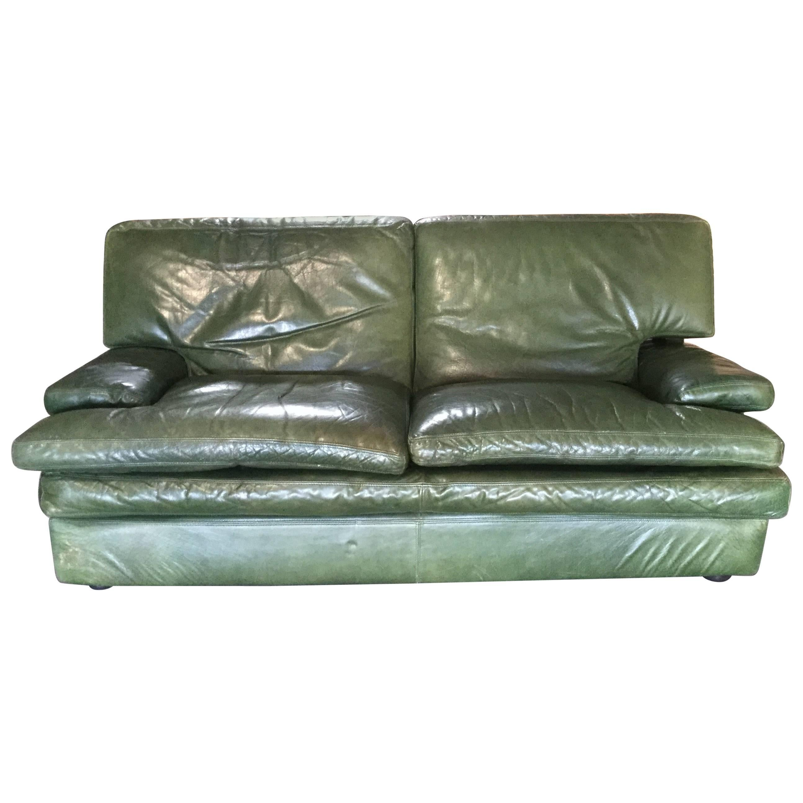 Supple Green Leather Roche Bobois Vintage Sofa For Sale