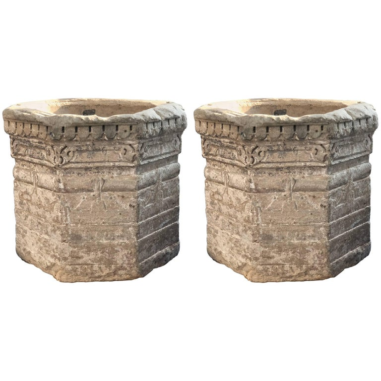 Pair of Grey Sandstone Water Well, 17th Century, India