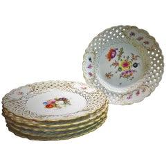 Carl Teichert, Seven Meissen Porcelain Reticulated Dessert Plates, circa 1880s