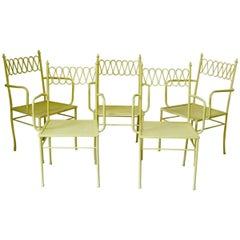 Five Painted Iron 1950s Chairs