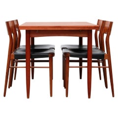 Wilkhahn Model 351 Dining Chairs and Table in Teak and Leather by Georg Leowald