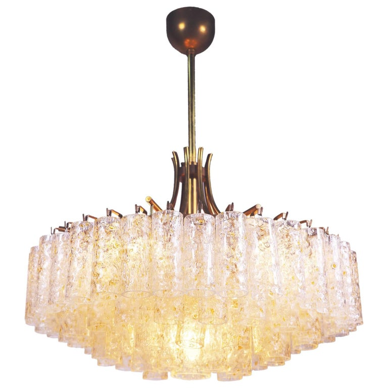Large Chandelier with Gold Flaked Murano Glass Tubes by Doria, Germany, 1960s