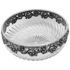 Antique French Sterling Silver Cut Crystal Salad or Serving Bowl, Daisy Pattern