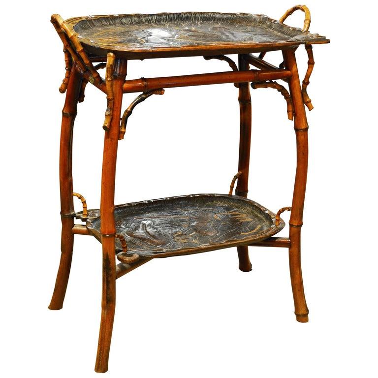 French Art Nouveau Japonaiserie Bamboo Tea Table by Perret et Vibert, Paris For Sale