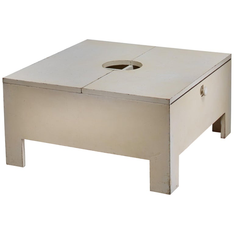 White Wooden Bar or Table with Inside Storage, Brianza, 1966