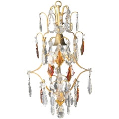 Crystal Chandelier Old Ceiling Brass Brown Colorful Special Amber Color Lustre