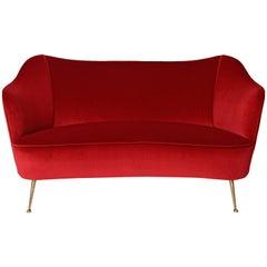 Italian Red Velvet Sofa, circa 1950
