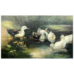 Anton Otto Fischer Ducks Painting Oil on Canvas Framed 1922 Kingston N.Y.