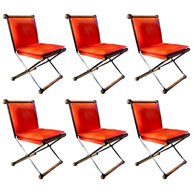 Set of Six Cleo Baldon Midcentury Campaign Chairs Indoor/Outdoor, circa 1965 For Sale