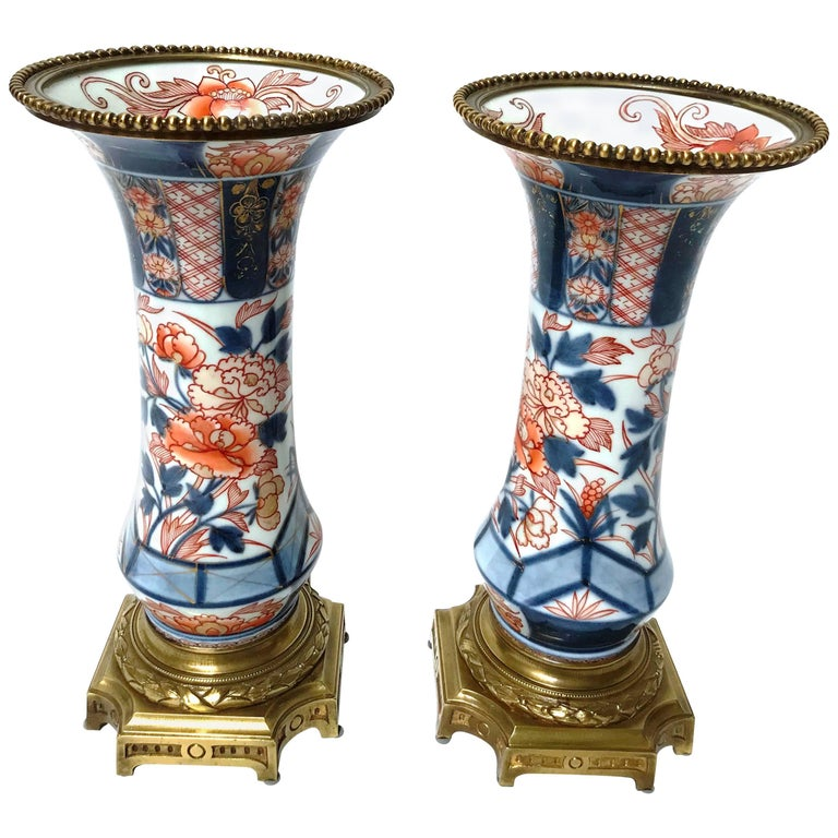 Pair of Early 19th Century Ormolu Mounted Japanese Imari Porcelain Vases