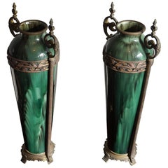 Stunning Pair of Antique French Green Ceramic Vases with Bronze Base & Handles