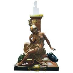 La Cruche Casee, Antique French Bronze Sculptural Desk Candleholder, circa 1875