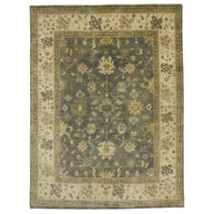 Contemporary Indian Transitional Style Area Rug with Oushak Design