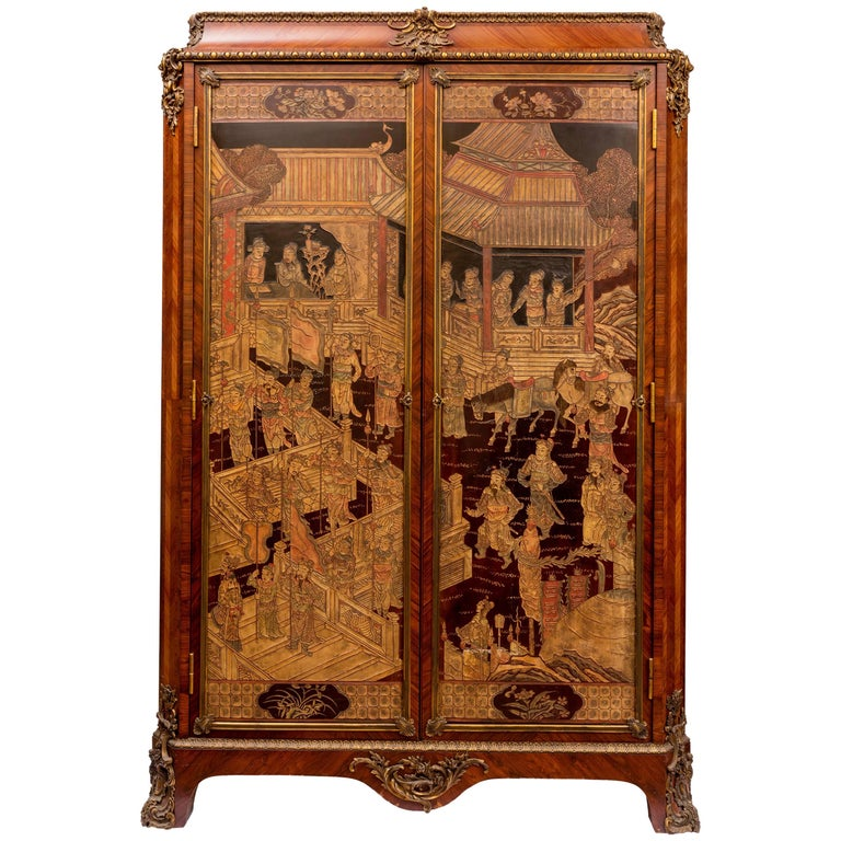 Louis XV Style Armoire with Chinoiserie Coromandel Panels and Bronze Details