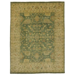 Contemporary Indian Oushak Style Area Rug with Arts & Crafts Style