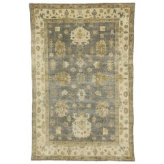 New Transitional Area Rug with Oushak Design with Luxe Style