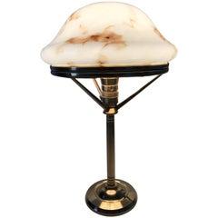 1920 Swedish Art Nouveau Jugendstil Brass and Art Glass Table Lamp