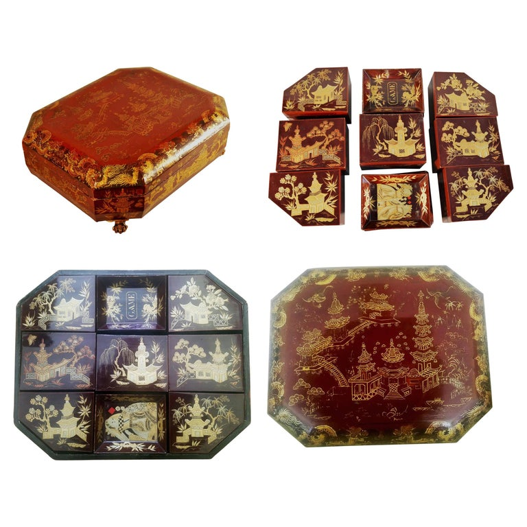 Chinese Red Lacquer Covered Games Box with Inner Trays & Boxes, circa 1825-1850