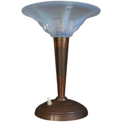 Art Deco Table or Desk Lamp with a Lalique Style Iridescent Blue Glass Shade