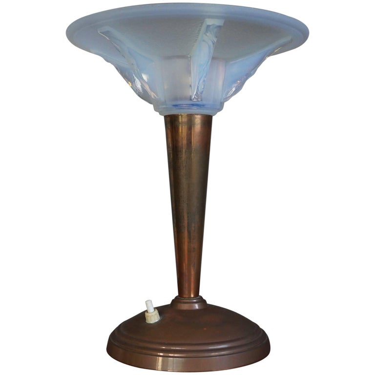 Art Deco Table Or Desk Lamp With A Lalique Style Iridescent Blue Glass Shade For