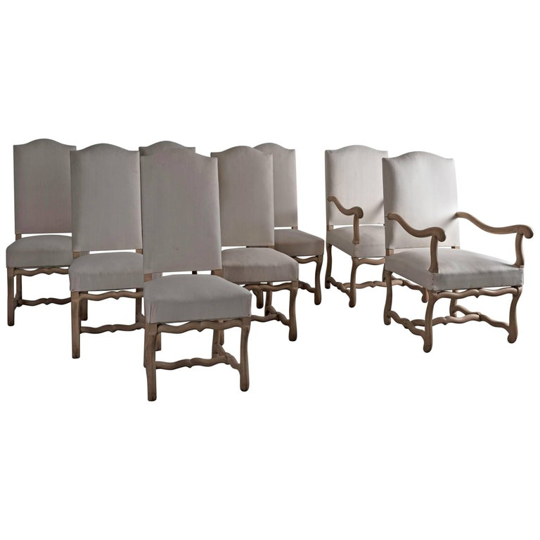 Set of Eight Antique French Os De Mouton Dining Chairs in Bleached Oak