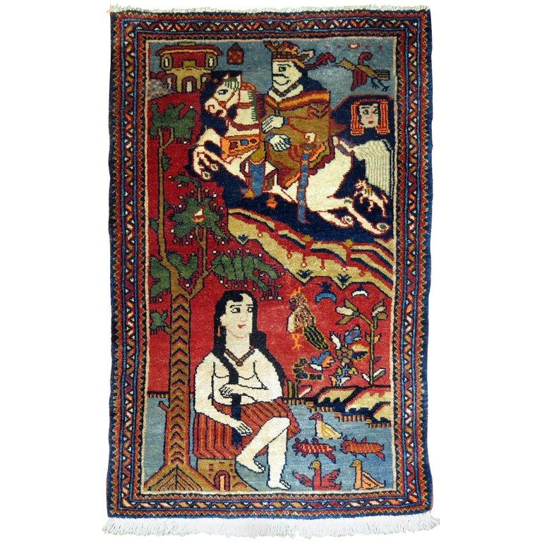 Vintage Persian Pictorial Rug