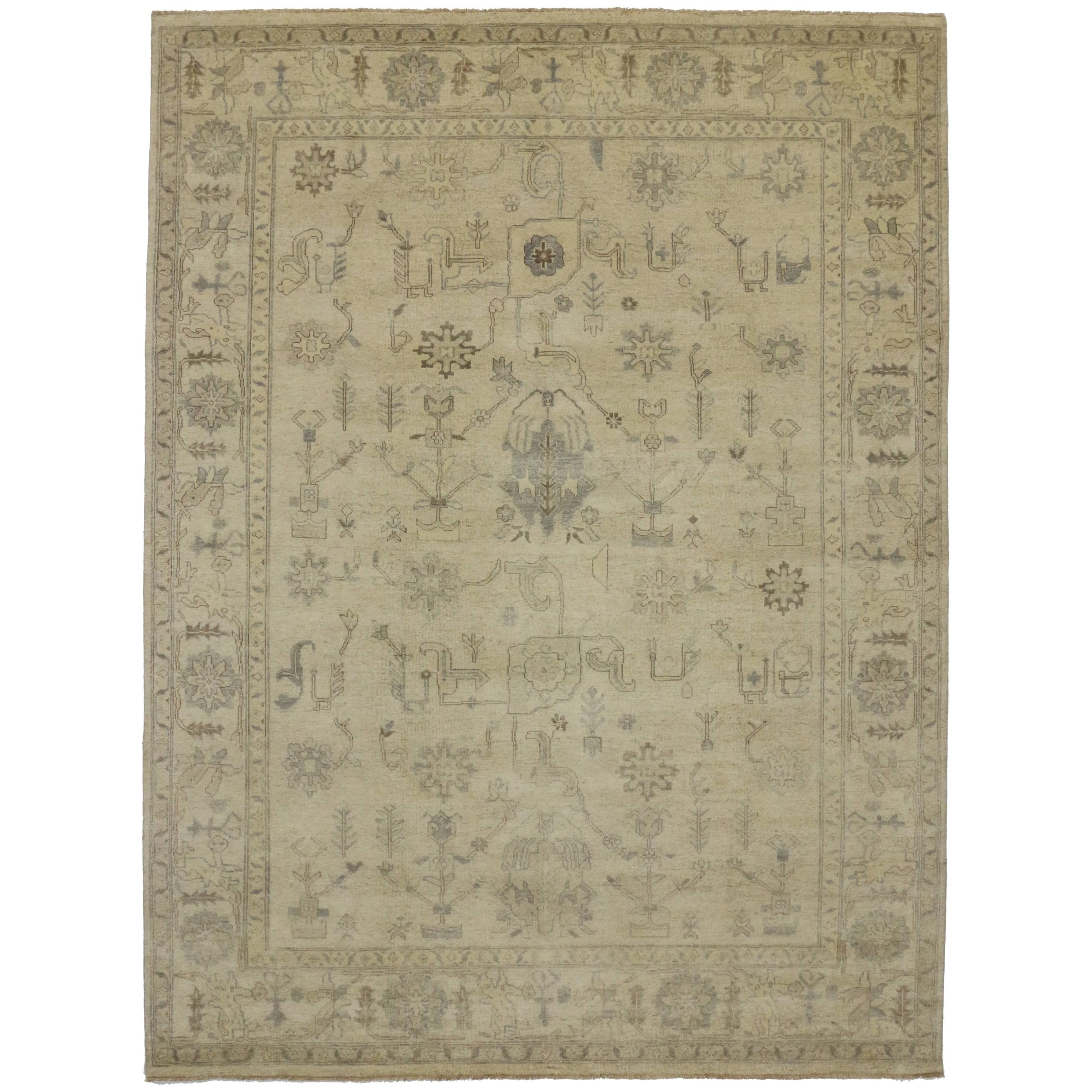 N New Modern Transitional Oushak Style Rug Neutral Color Area Rug