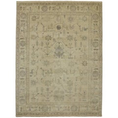 New Modern Transitional Oushak Style Rug, Neutral Color Area Rug