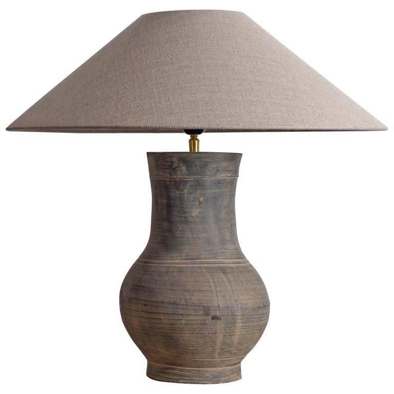 Monumental Rustic Cambodian Water Jar As Lamp With