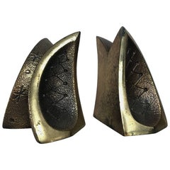 Modernist Brass Sculptural Bookends by Ben Seibel for Jenfredware, Raymor, Pair