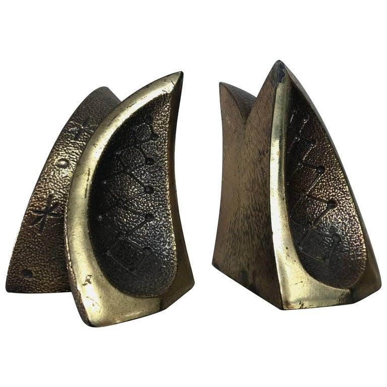 Modernist Brass Sculptural Bookends by Ben Seibel for Jenfredware, Raymor, Pair