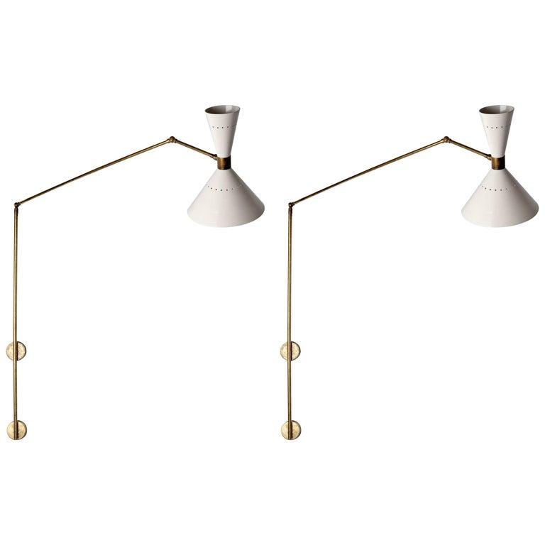 Stylish Pair of Stilnovo 1950s Italian Wall Lights