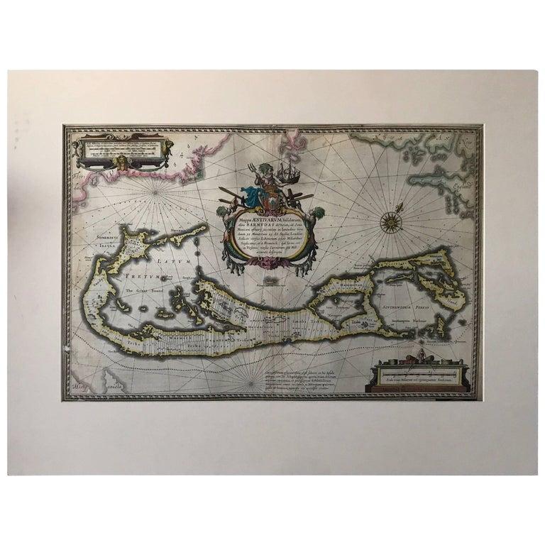 Map of Bermuda. Guiljelm Blaeuw, Mappa Aestivarum Insularum, Amsterdam 1640