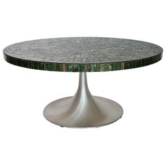 Heinz Lilienthal Coffee Table with Green Glass Mosaic and Tulip Pedestal, 1960s