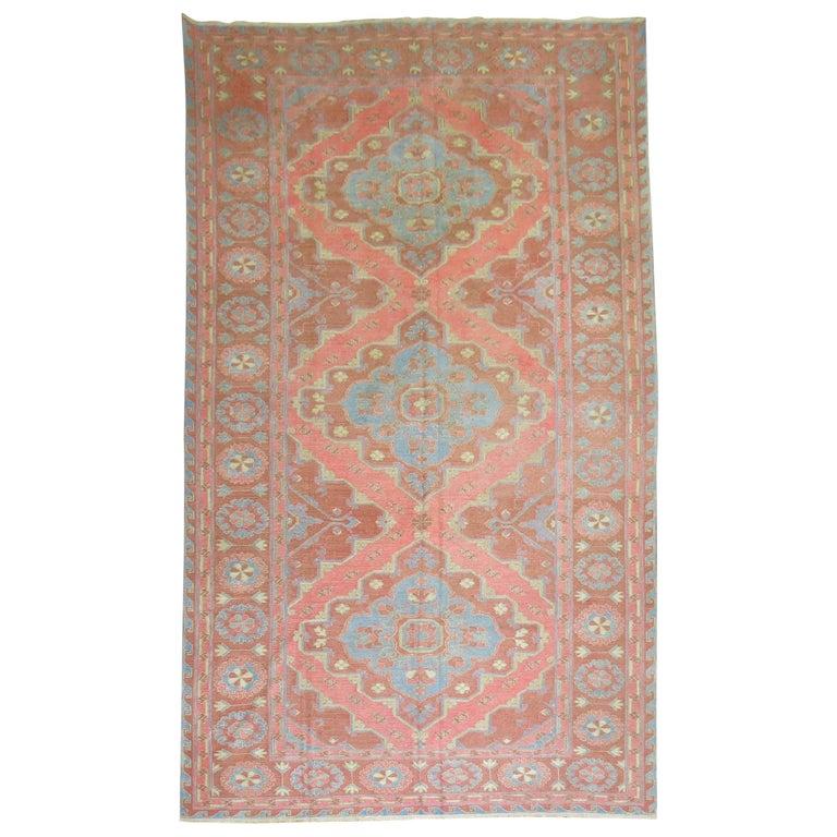 Vintage Turkish Flat Weave Rug: SIlk Surface Vintage Turkish Flat-Weave Rug For Sale At