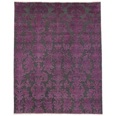 Victorian Style Contemporary Damask Area Rug with Modern Design