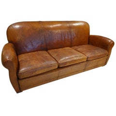 Three-Person Leather Club Sofa