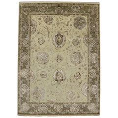 Transitional Style Area Rug with Oushak Design and Neutral Colors