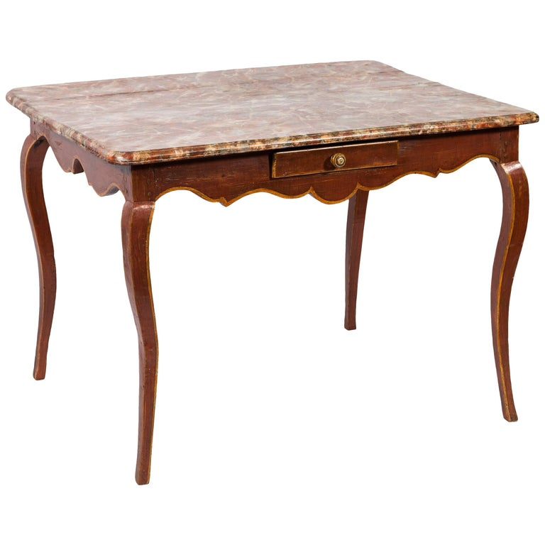 19th Century French Painted Wood Side Table with Faux Marble Top