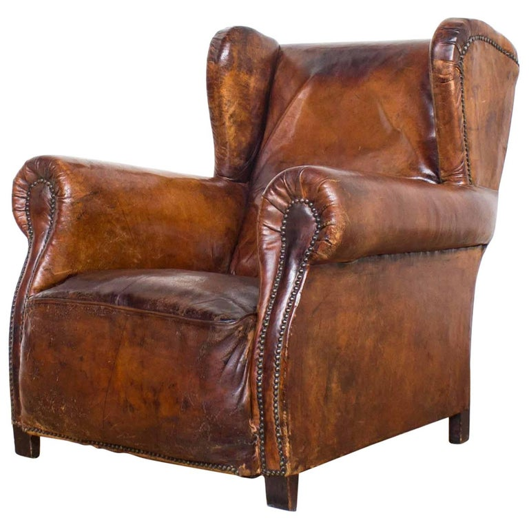 Vintage Cognac Leather Wing Back Club Chair