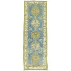 Antique Persian Runner in Sky Blue and Green