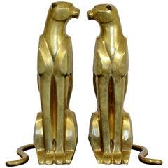 Mid-Century Modern Pair of Bronze Brass Cheetah Cat Table Sculptures