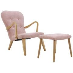 1960s Danish Oak Lounge Chair with Stool