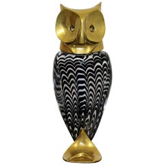 Mid-Century Modern Glass Bronze Brass Owl Table Sculpture Luca Bojola, Italy