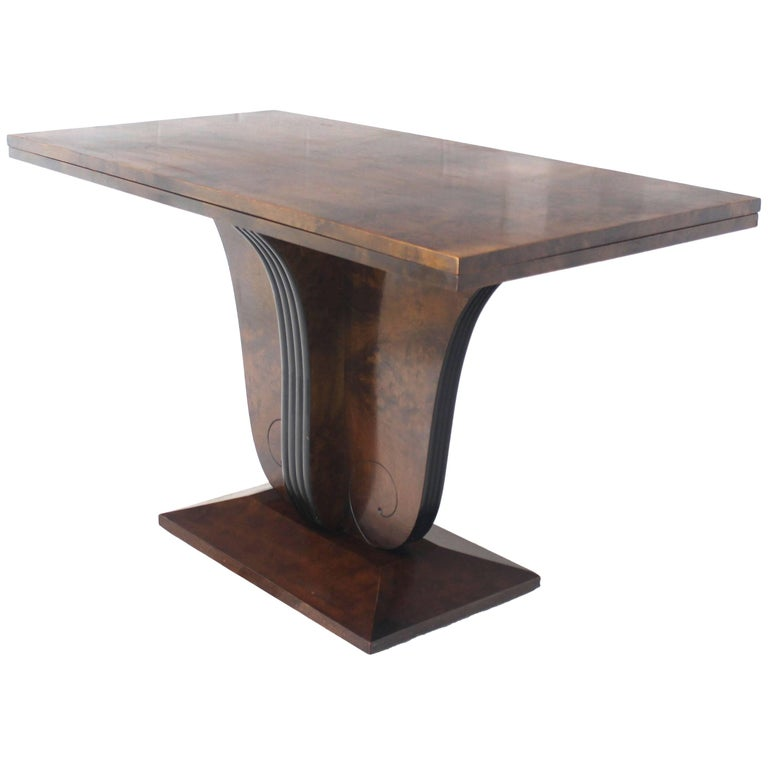 Flip-Top Burl Wood Dining Large Console Table Deco Figural Base