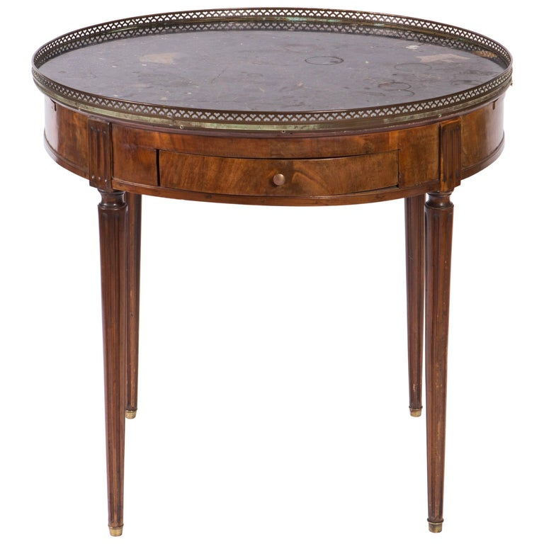 19th Century French Round Mahogany Side Table with Marble Top