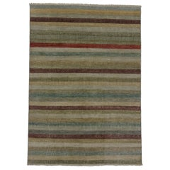 Transitional Indian Striped Area Rug with Modern Cottage Style and Bucolic Charm